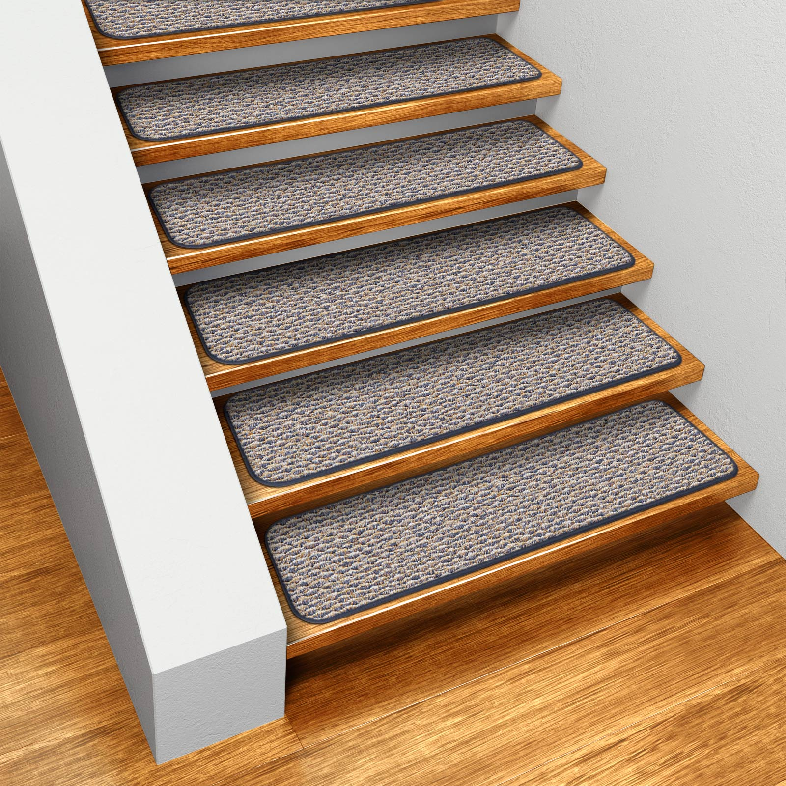 House, Home and More Set of 15 Skid-resistant Indoor Carpet Stair Treads - Denim Blue - 8 In. X 30 In. at Sears.com