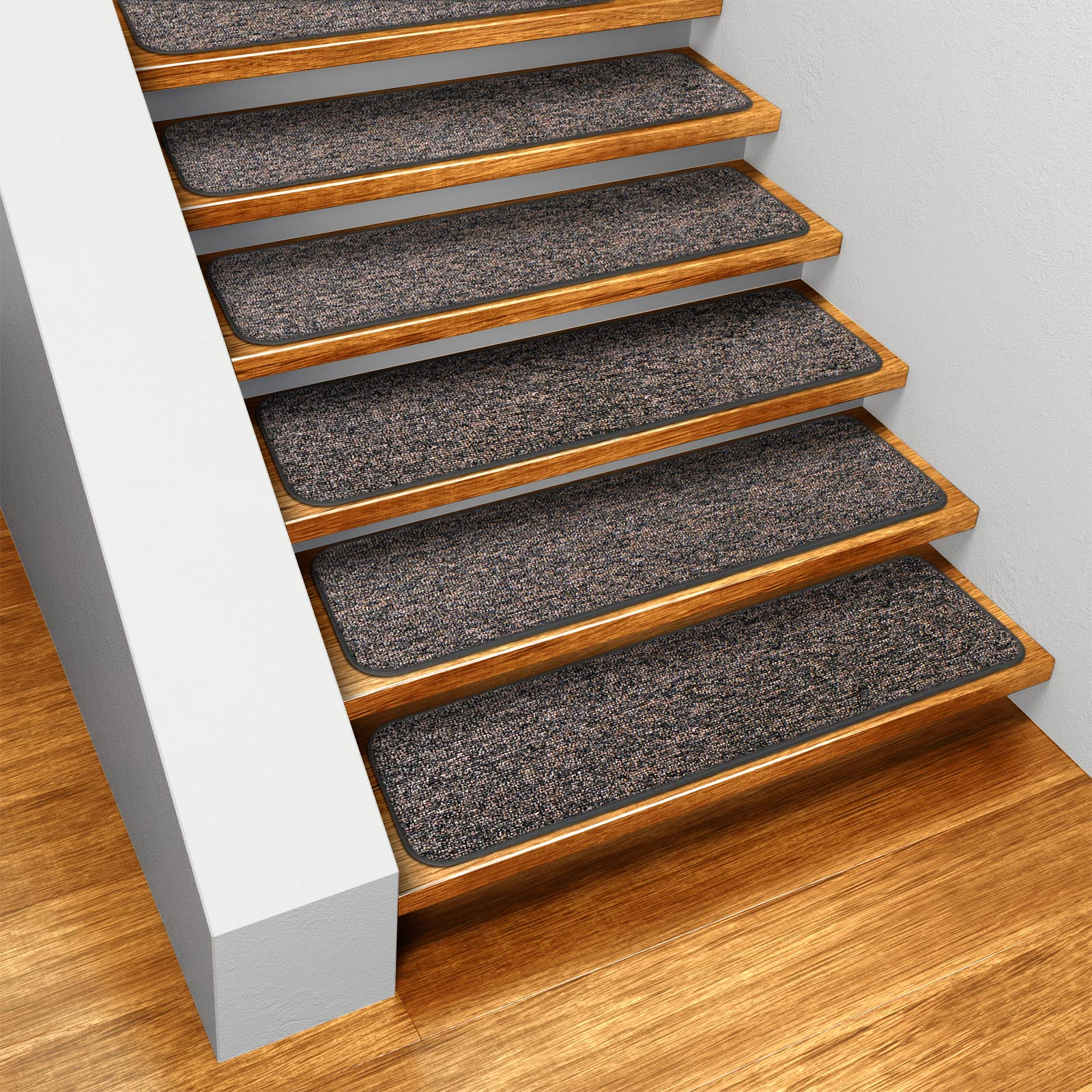 House, Home and More Set of 15 Skid-resistant Indoor Carpet Stair Treads - Pebble Gray - 8 In. X 30 In. at Sears.com
